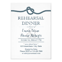 Tying the Knot Nautical Wedding Rehearsal Dinner Card