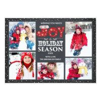 Typography Joy 5 Photo Christmas Holiday Card