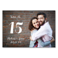 Typography Photo Wedding Table Number Card
