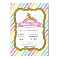 Unicorn Birthday Party Gold Glitter Rainbow Invite