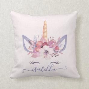 Unicorn face floral watercolor cushion