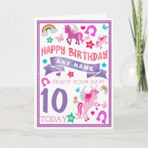 Unicorn Girls Personalised Birthday Card