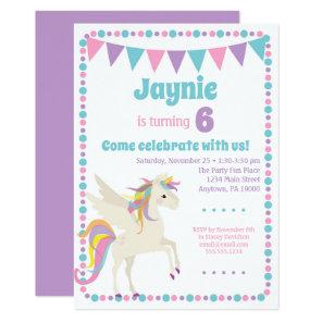 Unicorn Invitation Girls Unicorn Birthday Party