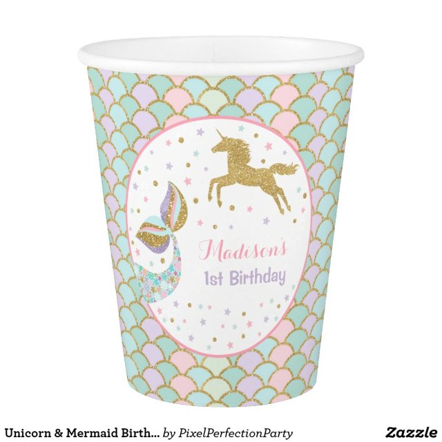 Unicorn & Mermaid Birthday Paper Cup