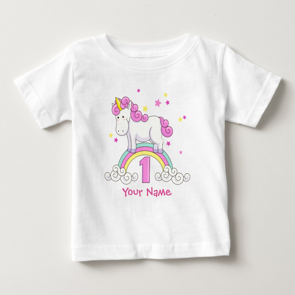Unicorn Rainbow 1st Birthday T-Shirt