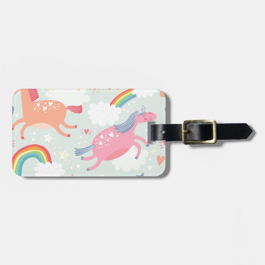 Unicorns & Rainbow Luggage Tag