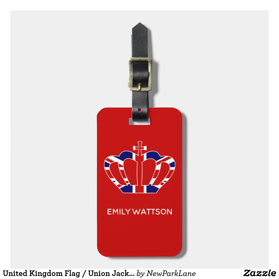 United Kingdom Flag / Union Jack Crown - Red Luggage Tag