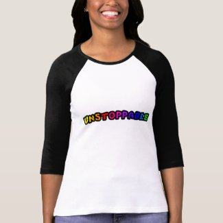Unstoppable colorful text t-shirt