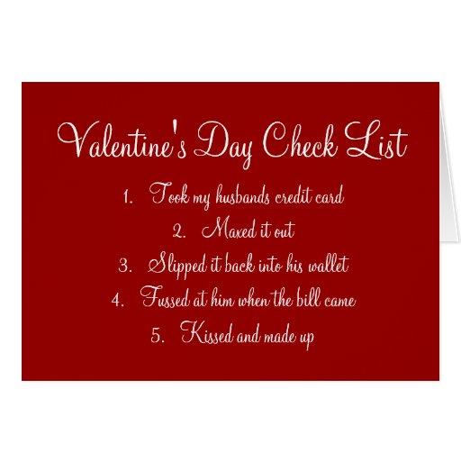 Valentine's Day Checklist Greeting Card | Zazzle