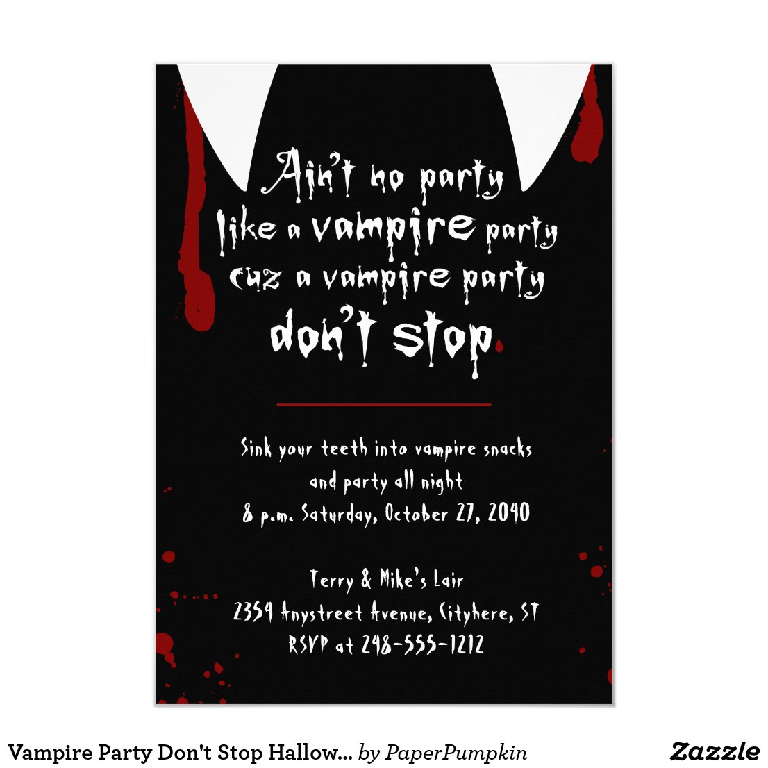 Vampire Party Don't Stop Halloween Party Invitation