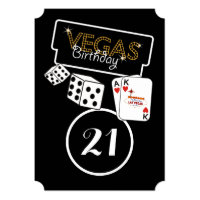 Vegas Lights 21st Birthday Party Invitation