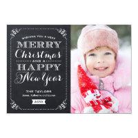 Very Merry Christmas Chalkboard Holiday Photo Card