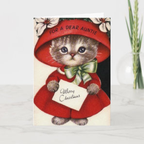 Vintage Cat Christmas Card For Aunt