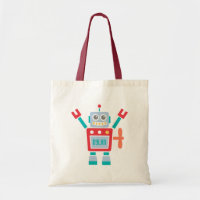 Vintage Cute Robot Tote Bag