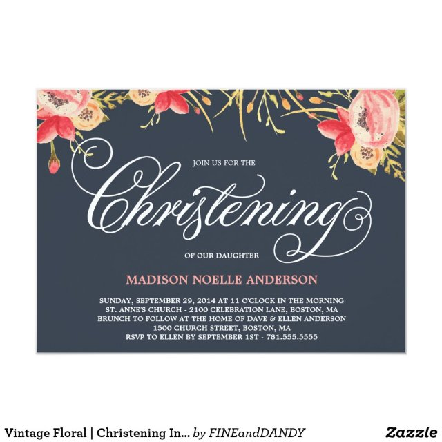 Vintage Floral | Christening Invitation