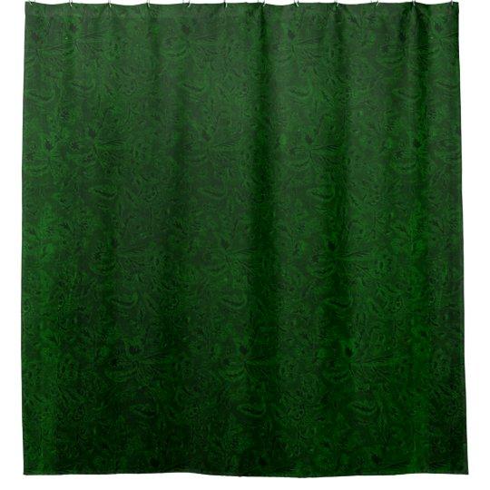 vintage floral forest emerald green shower curtain