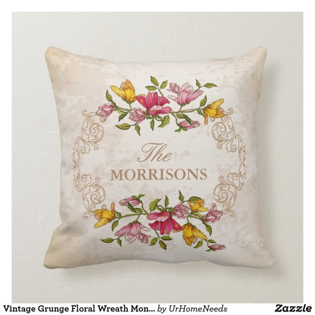 Vintage Grunge Floral Wreath Monogram Family Cushion