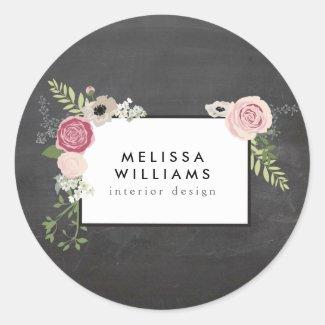 Vintage Modern Floral Motif on Chalkboard Stickers