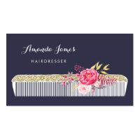 Vintage Ornate Hairdresser Comb With Pink Floral Business Card