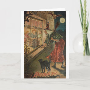 Vintage Peeping Witch Halloween Card