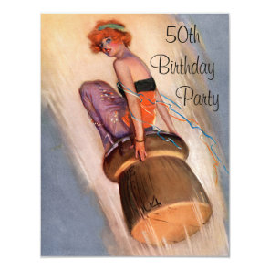 Vintage Pin Up Girl & Champagne Cork 50th Birthday Card