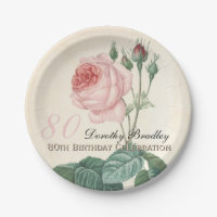 Vintage Rose 80th Birthday Celebration Paper Plate