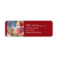 Vintage Santa Christmas Return Address Labels