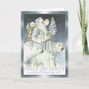 Vintage Santa Snowy Forest Winter Animals Holiday Card