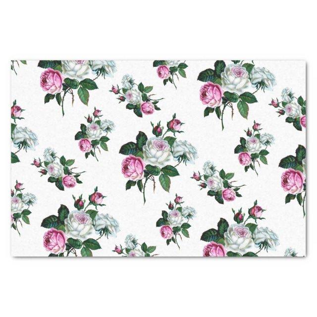 Vintage Shabby Chic Pink White Roses Pattern Tissue Paper
