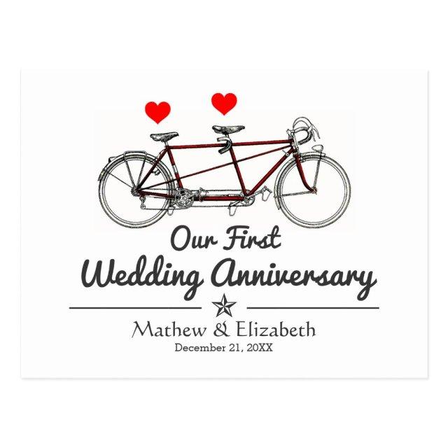 Vintage Tandem Bicycle Custom Wedding Anniversary Postcard