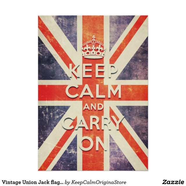 Vintage Union Jack flag keep calm and carry on