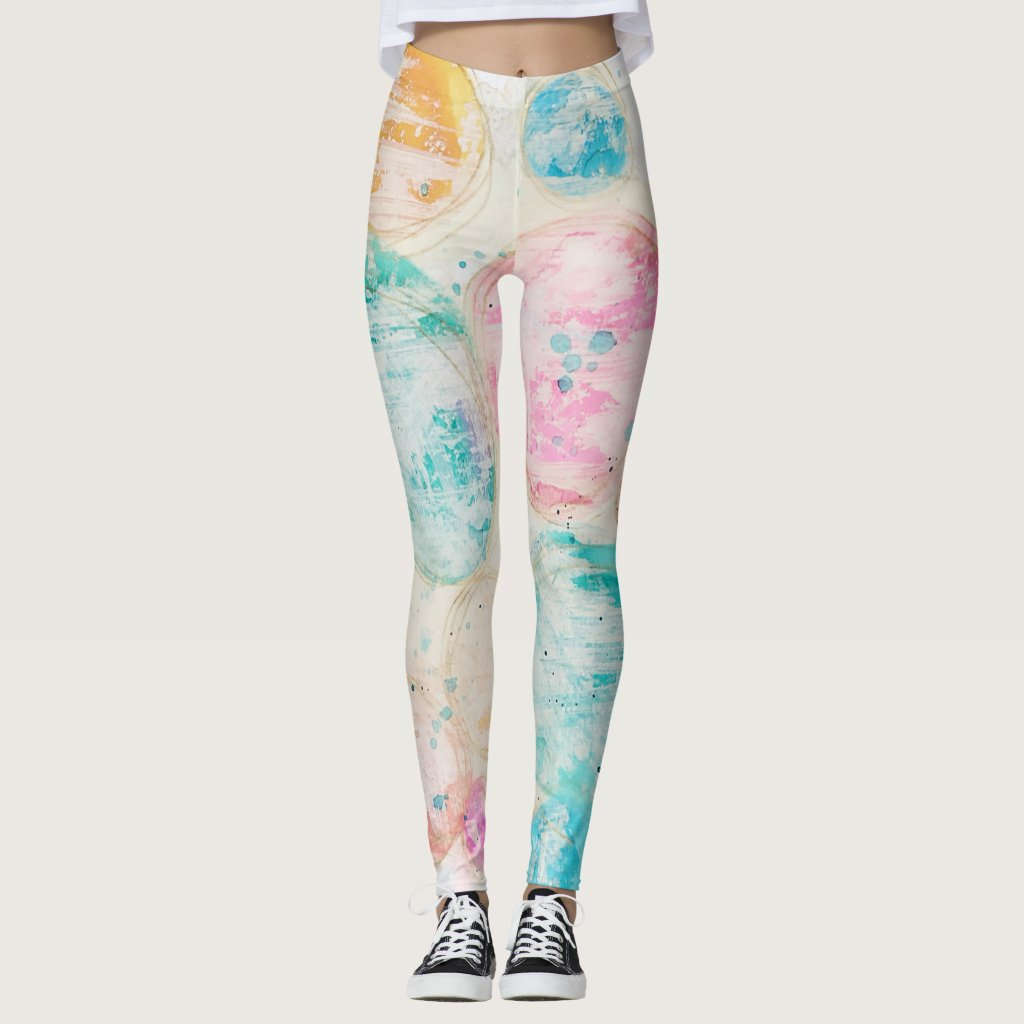 Watercolor Circle Abstract Mixed Media Art Pastel Leggings