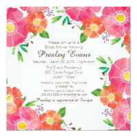 Watercolor Floral Bridal or Baby Shower Invitation