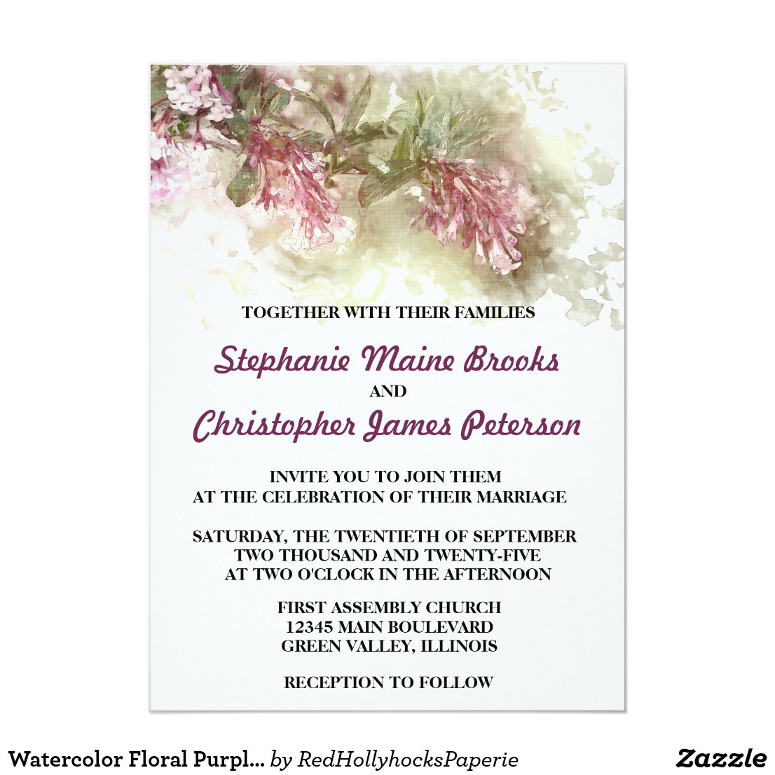 Watercolor Floral Purple Jasmine Wedding Card