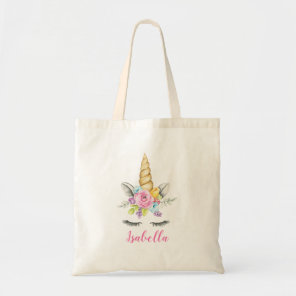 Watercolor Floral Unicorn Personalised Tote Bag