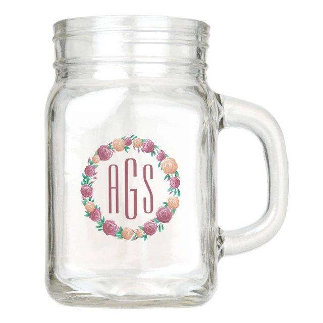 Watercolor Garden Roses Monogram Mason Jar