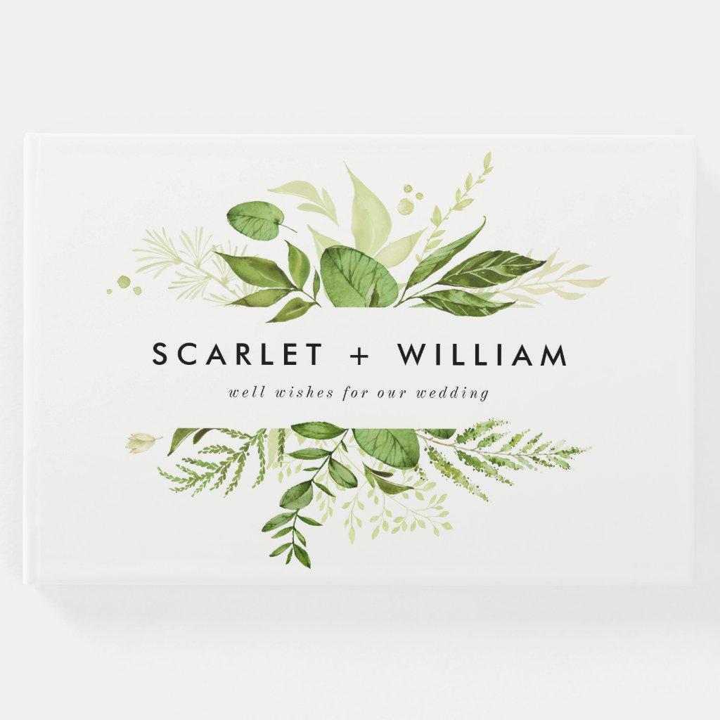 Watercolor Wild Green Foliage Photo Wedding Guest Book