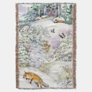 Watercolor Winter Scene Woven Throw Blanket