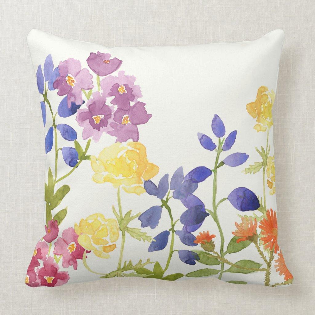 Watercolour Flower Bed Cushion