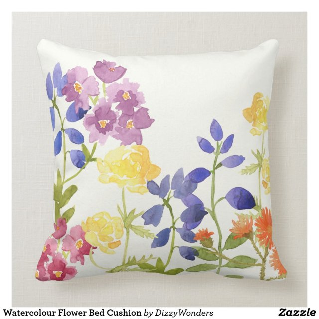 Watercolour Flower Bed Cushion