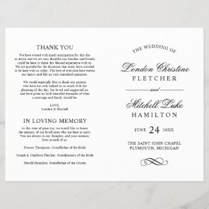 Wedding Ceremony Programs | Black Classic Elegance