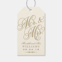 Wedding Favor Tag | Ivory Gold Monogram Pack Of Gift Tags