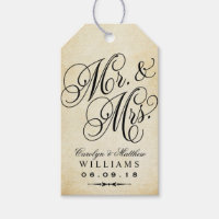 Wedding Favor Tag   Vintage Monogram Gift Tags