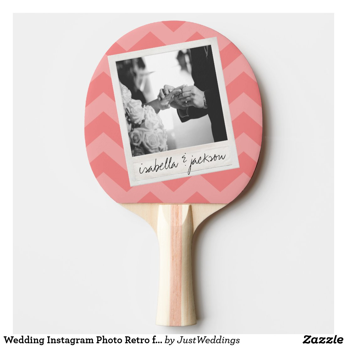 Wedding Instagram Photo Retro frame Custom Text Ping Pong Paddle