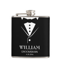 Wedding Mens Groom and Groomsmen Tuxedo Flask