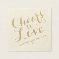 Wedding Napkins | Gold Cheers to Love Standard Cocktail Napkin