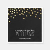 WEDDING TABLE DECOR cute confetti spots gold black Paper Napkin