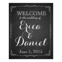 Welcome to the wedding of chalkboard poster