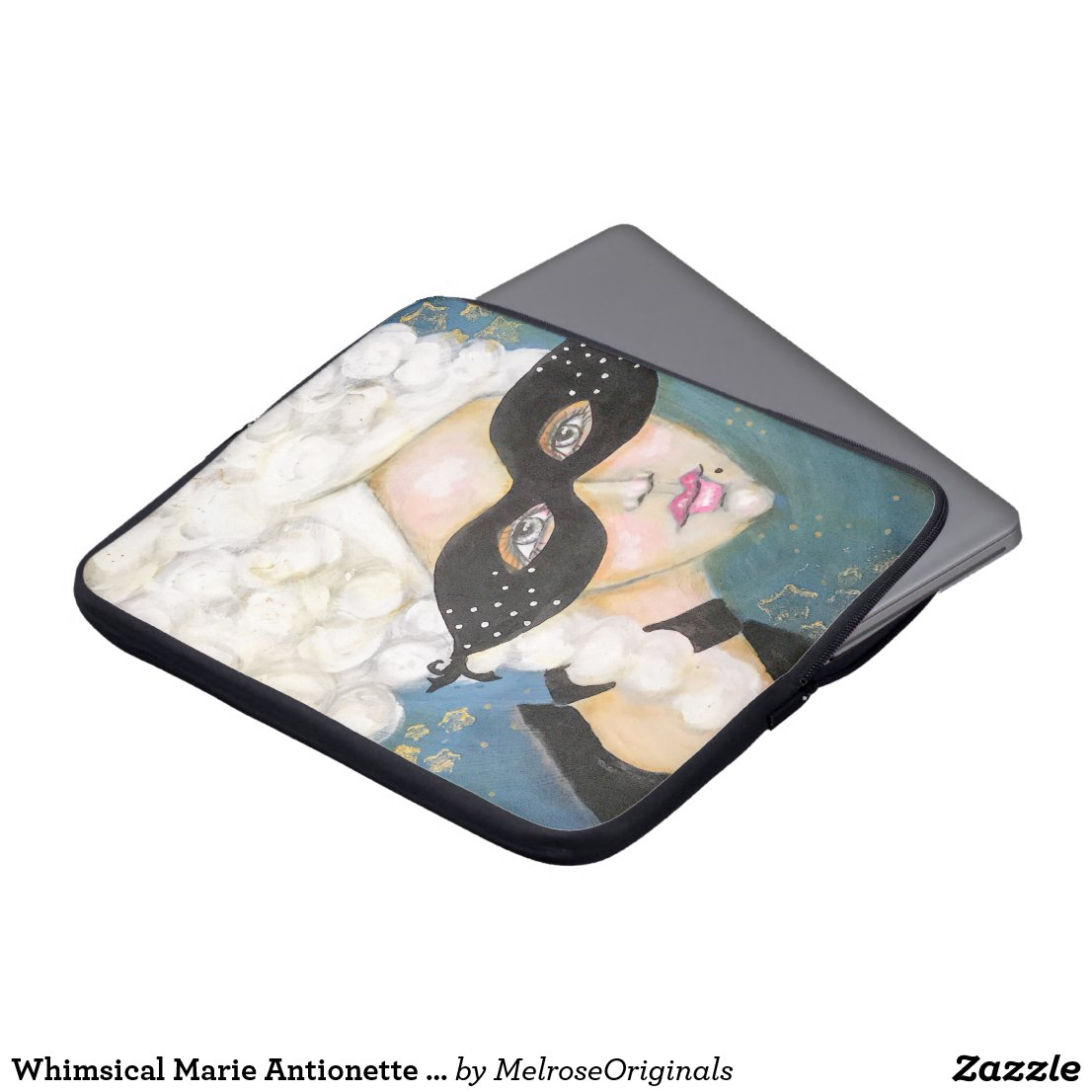Whimsical Marie Antionette Painting Masquerade Art Laptop Sleeve