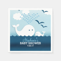 Whimsical Whales (boy) Baby Shower Standard Cocktail Napkin